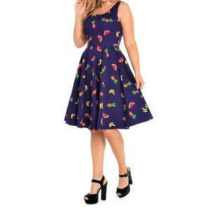 1X 14/16 Rockabilly Fruit Print Fit & Flare dress